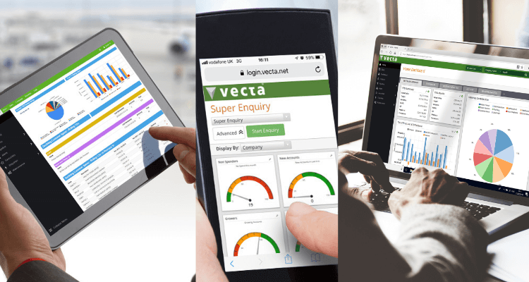 Vecta on tablet, mobile and desktop.